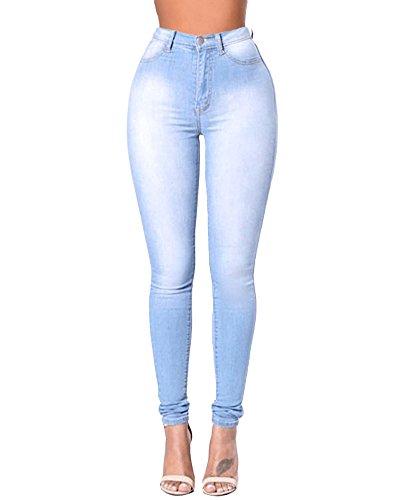 Yonglan donna skinny jeans slim elastico vita alta washed denim pantaloni leggings matita pantalone blu chiaro m