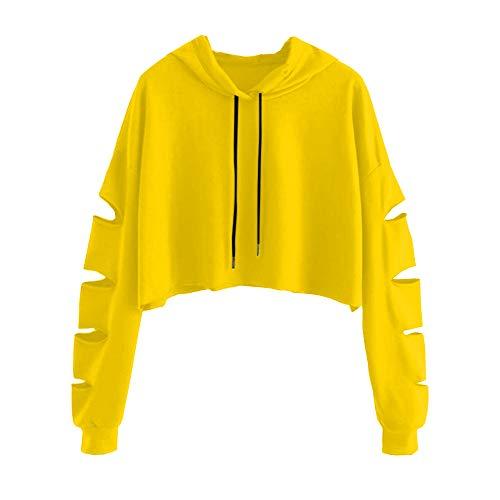 Damen Frauen Teenager Mädchen Langarmshirt Pulli Pullover Sweatshirt Crop Top Langarm REAL Streetwear Tshirt Hemd Oberteile Tops Bluse Sale