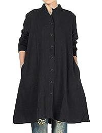 Mujer Shirt Dress Vestido Color sólido Traje de otoño Calle y Playa,Sonnena Vestido Largo