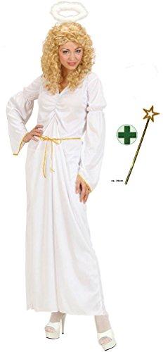 Karneval-Klamotten Engel Kostüm Damen lang weiß-Gold Weihnachten Damenkostüm mit Goldstab Größe 38/40 (Weiß Und Gold Engel Kostüm)