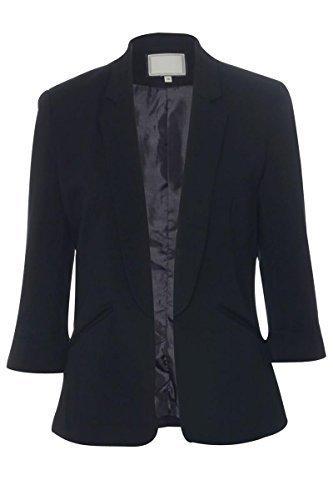 CelebLook Elegante Custodia Pieghevole Blazer collezione maniche 3/4lunghezza Turn Up. Nero