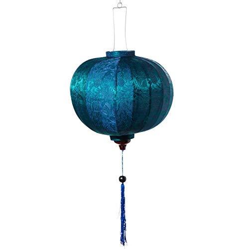 Terrapin Trading Ltd VIETNAMESISCHE Oriental SEIDEN Bambus HANDGEFERTIGTE Laterne Lampe chinesisch blau 14