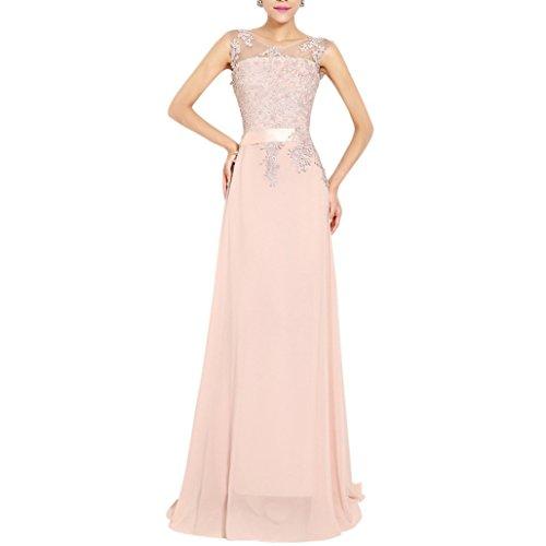 565276a99f69ef abito da cerimonia donna in chiffon damigella vestito lungo elegante da  festa party-Pink-