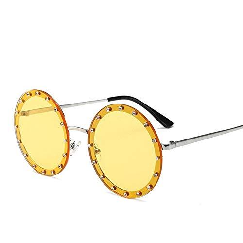 MoHHoM Sonnenbrille Oversized Runde Niet Designer Sonnenbrille Frauen Vintage Metallrahmen, Klare Gläser Sonnenbrille Pink Gelb Blau Brille Silber Gelb