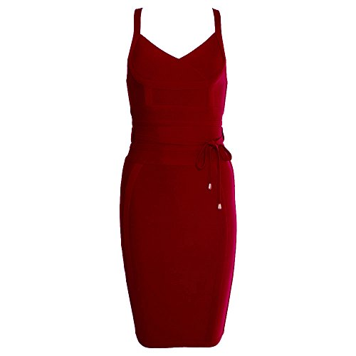 HLBandage Polyester Women's Spaghetti Strap V Neck Sashes Strap Lacing Bodycon Bandage Dress(XS,Wein Rot)