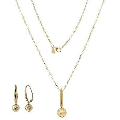 Ensemble de bijoux en or 14 carats avec boules - Gioiello Italiano