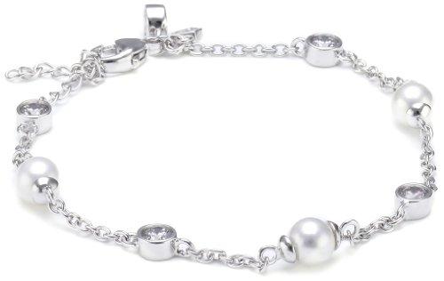 Diamonfire Damen-Armband Bridal 925 Silber rhodiniert Zirkonia Brillantschliff weiß 17 cm