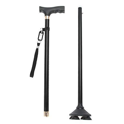 Bastone da passeggio con luce led e allarme di sicurezza, altezza regolabile, in alluminio leggero, antiscivolo, per anziani e disabili.