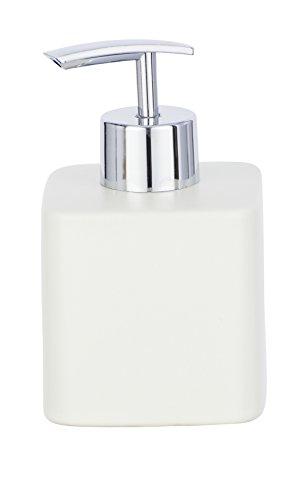 Wenko–Dispensador de jabón dispensador de jabón Hexa de Capacidad 0.29L, cerámica, Color Crema, 8.5x 7.5x 13cm