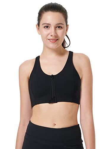 Zeronic Damen Sport-BH mit Reißverschluss vorne, mittelgroß, stoßfest, mit Riemen, für Workout - Schwarz - X-Large - 2