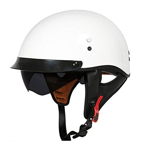 Yedina Harley Motorradhalbhelm Erwachsener Glasfaser Motorradhelm Cruiser Visier Schnellverschluss mit versenkbarem eingebautem Objektiv Roller Fahrradhelm DOT Approved Personality Motorradhelm,1,M 1-kanal-visier