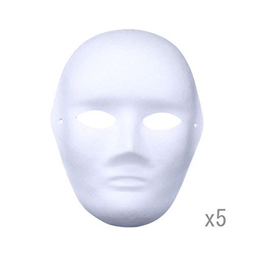 e Weißes Papier Maske Zellstoff Blank Handgemalte Maske Persönlichkeit Kreative Freie Design Maske (Männer) ()