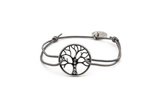 Beach Breeze Silbernes Charm-Armband mit Lebensbaum-Motiv - größenverstellbar und elastisch