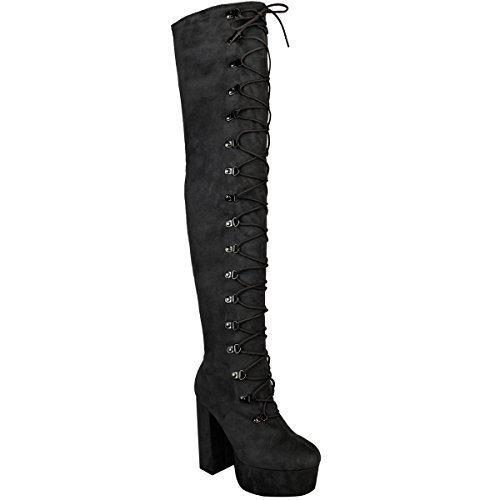 Damen Overknee-Stiefel mit hohem Absatz - hoher Schaft mit Schnür-Detail - Schwarz Veloursleder-Imitat - EUR 41