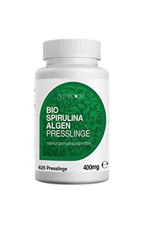 Natrea BIO Spirulina Presslinge | 625 Tabletten✅ 400mg reine und qualitativ hochwertige Spirulina Alge ✅ ohne Zusätze ✅ in Deutschland kontrolliert ✅