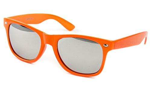 Occhiali da Sole a goccia da aviatore Wayfarer Ochiale Sunglass Nerd Orange Silver Mirror
