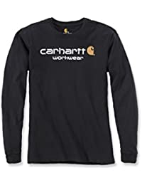 Carhartt Mens Core Long Sleeve Polycotton Crew Neck Logo T-Shirt