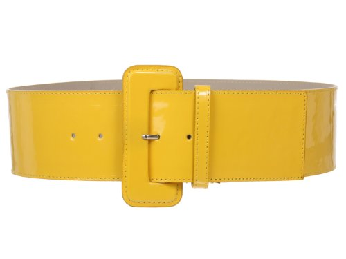 Cinturón amarillo ancho con hebilla forrada