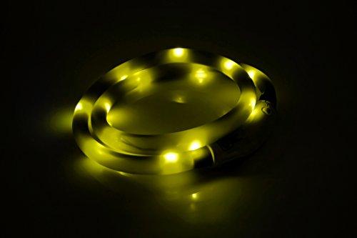 LED USB Halsband Silikon Hundehalsband Leuchthalsband für Hunde Haustier Katzen aufladbar per USB (Größe S-L auf 18-65 cm individuell kürzbar) in gelb von der Marke PRECORN - 5