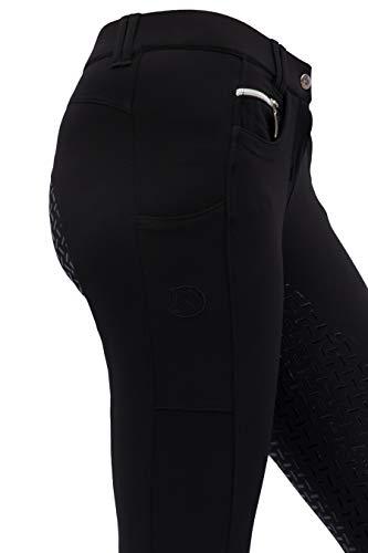 RidersDeal Collection Reithose mit Silikonvollbesatz und Handytasche für Damen, schwarz