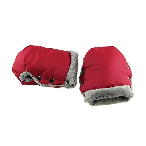 Lamdoo wasserdichte Fleece-Handschuhe für Kinderwagen Kinder Hand Muff Kinderwagen Warmer Handschuh Rollstuhl Zubehör Winter Abdeckung - rot -