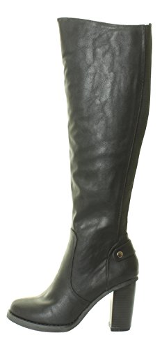 New Womens Ladies Knee High Boots Heel Gusset Stretchy Fit Wide Calf Black Brown Size 3 4 5 6 7 8 Black