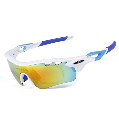 LIJJY Fahrradbrille Mit Wechselobjektiven, Outdoor-Sport-Sonnenbrille, Eingebauter Myopie-Rahmen,F