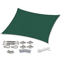 Sekey Voile d'ombrage Rectangulaire Imperméable Une Protection des Rayons UV, Résistant et Respirant pour Jardin Terrasse Camping Fête Piscine, avec Corde Libre et Kit de Montage, 2×3m Vert