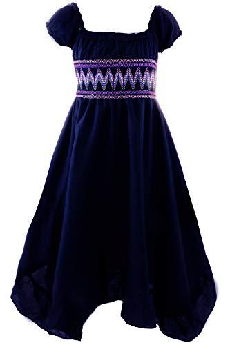 GILLSONZ Neu604-1PvDa Mädchen Kinder Sommer Freizeit Kleid (122/128, Dunkelblau)