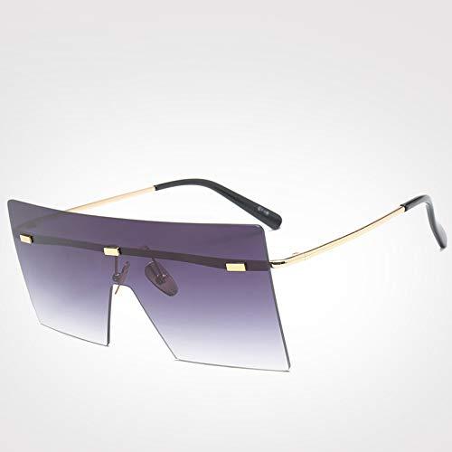 LXXSSRA Sonnenbrillen Sonnenbrillen Damen Herren Trendy Brillen Vintage Square Randlose Sonnenbrille Uv400 Blau Sonnenbrille