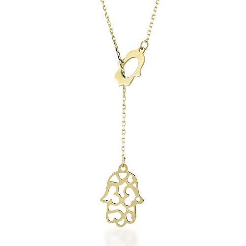 Damen Halskette aus 14 Karat - 585 Echt Gelbgold Kette mit Anhänger als hängenden Hamsa Hand der Fatima, Geschenk für Geburtstag Silvester Goldkette Blatt - Kette 45 cm