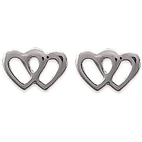 Pendientes para mujer de plata 925/1000, diseño de corazones de Enlacés filigrana, para mujer o niña infantil