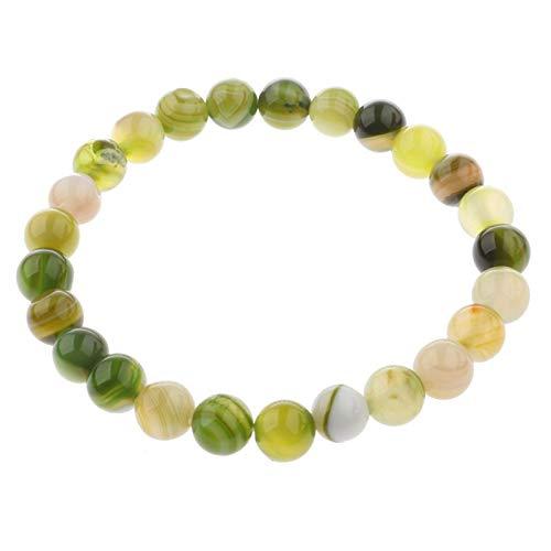 Lafeil Perlen Armbänder Jungs Kristall Light Green  17-19cm Einstellbar 8mm Breit Hellgrün Herren Armband Natürliche Stein -