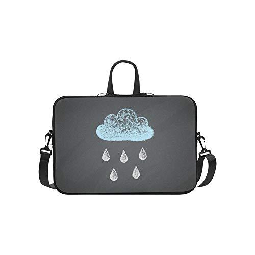 Kreide-Zeichnungs-Wolken-Regen fällt auf Aktenkoffer-Laptoptasche-Kurier-Schulter-Arbeitstasche Crossbody-Handtasche für das Geschäftsreisen -
