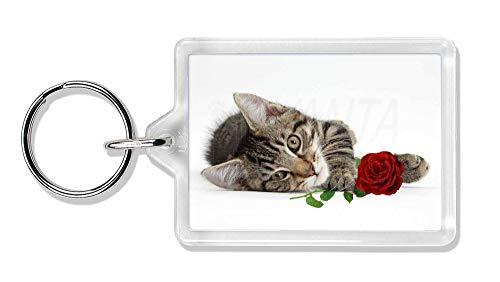 Advanta - Keyrings Tabby -Kätzchen-Katze mit roter Rose Foto Schlüsselbund TierstrumpffüllerGeschen -