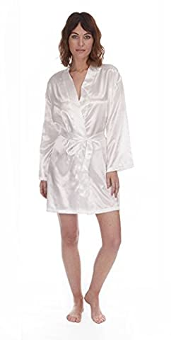 Ladies Satin Kimono Robe Dressing Gown, Soft Touch Nightwear, Size 8-22 By Daisy Dreamer ® (Large (16-18), Cream