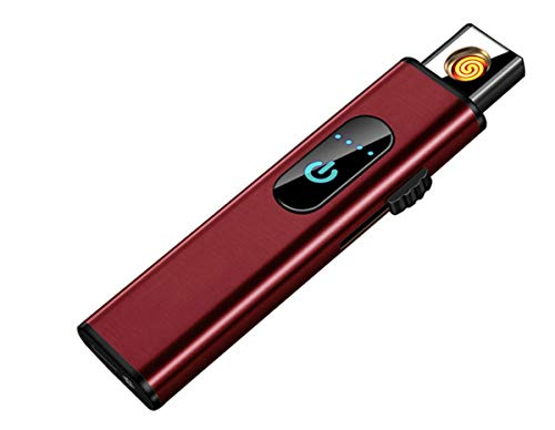 THE NAMCHE BAZAR USB Feuerzeug elektronisches aufladbar, Flamme ohne Gas. Premium-Qualität mit Geschenk-Box. Ultra-feine. SturmFeuerzeug (Rot)