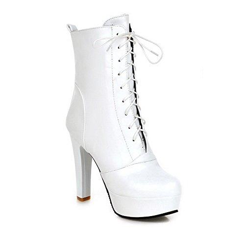 AllhqFashion Damen Schnüren Rund Zehe Hoher Absatz Lackleder Niedrig-Spitze Stiefel, Weiß, 39