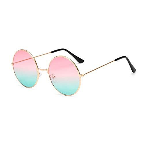 Taiyangcheng Vintage Runde Sonnenbrille Frauen Große Spiegel Sonnenbrille Weiblichen Metallrahmen Kreis Gläser,pinkgrün