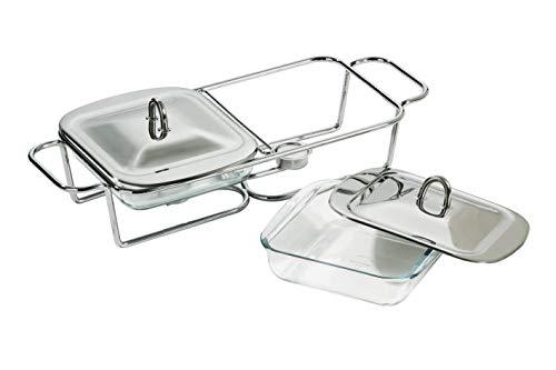 Premier Housewares - Calientaplatos Cuadrado Doble (Acero Inoxidable, Incluye Platos de Cristal...