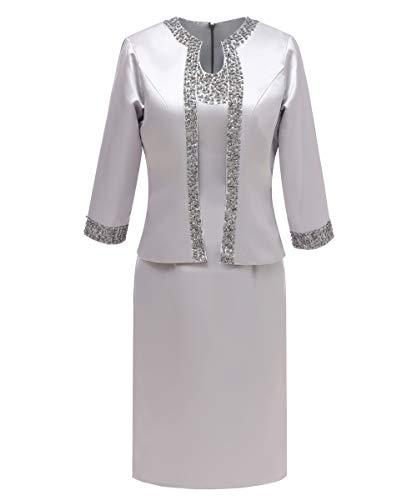 Pretygril Frauen 2 Stücke Elegantes Satin Kleid für die Brautmutter mit Jacke (US 10, Silber) Satin Kleid-kleid