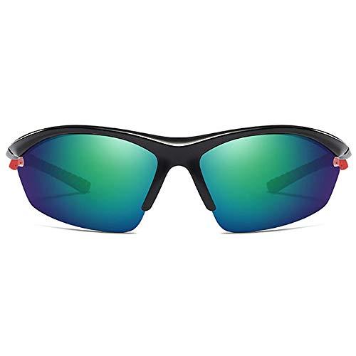 FURUDONGHAI Half Frame Outdoor-Reitsport PC-Material Sonnenbrille Schwarzer Rahmen Grün/Grau-Linse Herren Polarized Sports Drive Sonnenbrille besonders geeignet für sommerreisen oder Outdoor s