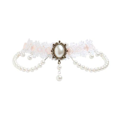 Elegante viktorianische Brautschmuck Gothik Burlesque Vintage Choker Kette aus weiß rosa Pastell Spitze und mit weißen Perlen