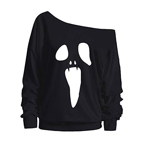 Naturazy Disfraz Halloween Hombro Sin Tirantes Manga Larga Pullover Tops Imprimir One Off Shoulder Blouse Ropa Chandal Chaquetas Tops Sudaderas Mujer Capucha
