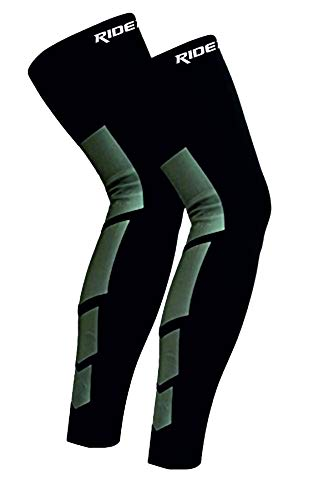 Just Rider 2 Pcs/Pair Super Elastic Lycra for Basketball, Football, Running, it, Work Out Or Any Fitness Activities, Leg Warmers Calf Thigh Compression Sleeves. (Black, XL)