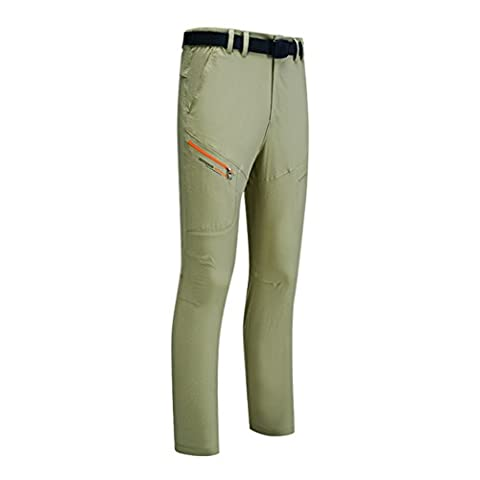 WALK-LEADER Couples Outdoor Lightweight Quick Dry Pants Nylon Camping Trousers Khaki 2XL