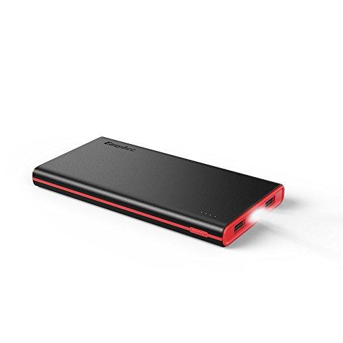 EasyAcc Externer Akku 10000mAh Powerbank Smart Ladegerät für Smartphone Tablet Schwarz+Rot