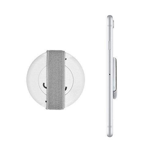 Loopgrip 360° Smartphone Fingerhalterung Weiß/Grau Handy-Halterung Handy-halter für iPhone, Finger-Halter Samsung Galaxy, Fingerhalter Smartphone White/Grey (Grau Gummi-griff)