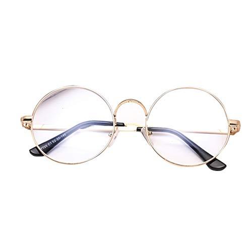 Luckiests Männer Frauen Schlanke Metallrahmen-Runde Brillen Unisex Retro Metall-freie Objektiv-Glas-Rahmen Myopic