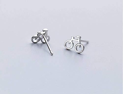 K-Earing S925 Silber Ohrringe Weibliche Mode Einfache und Kompakte Fahrrad Ohrringe Temperament Mini Ohrschmuck, Silber
